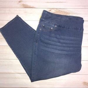 Avenue Luxe Sateen Pull-On Skinny Jeans-Sz 30/32P